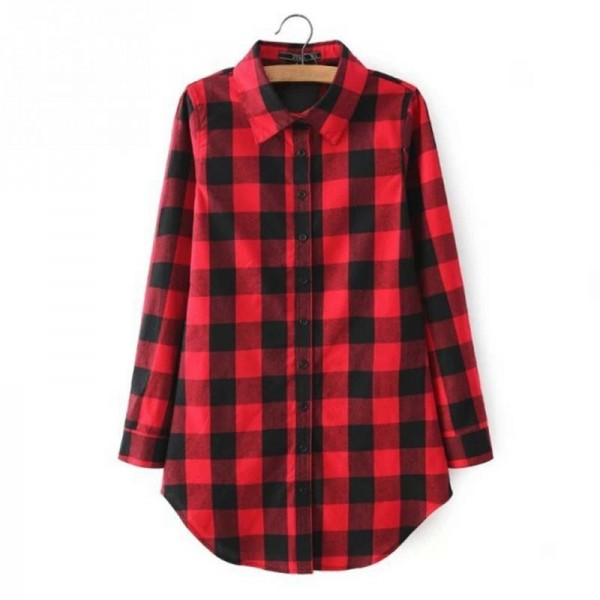 Autumn Fashion Shirt For Women Red Plaid Printed Feminine Winter Casual Plus Size Tops Outwear Shirt Extra Image 2