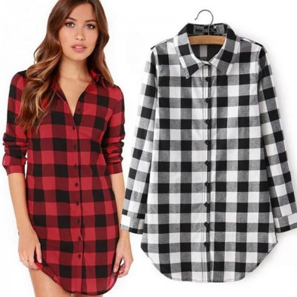 Autumn Fashion Shirt For Women Red Plaid Printed Feminine Winter Casual Plus Size Tops Outwear Shirt Extra Image 4