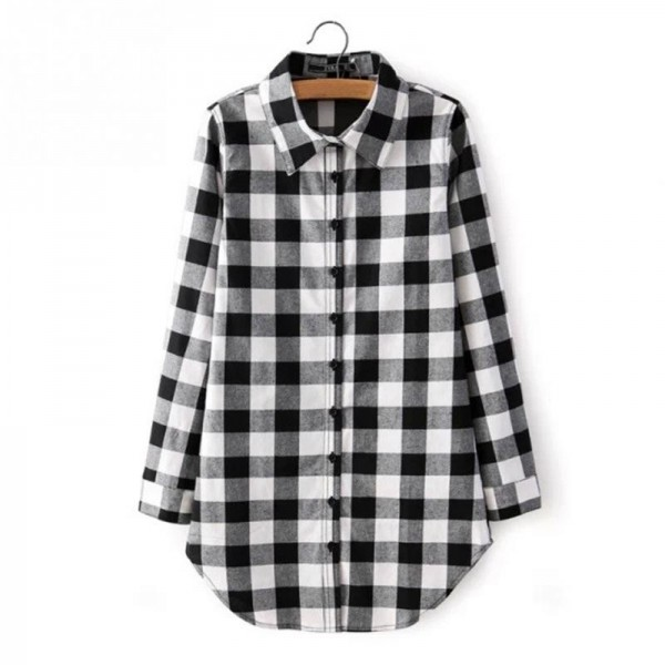 Autumn Fashion Shirt For Women Red Plaid Printed Feminine Winter Casual Plus Size Tops Outwear Shirt Extra Image 5