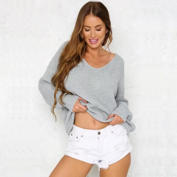 Autumn Fashion V Neck Solid Sweater Pullover Women Bandage Cross Ties Back Long Sleeve Knitted Sweater Female