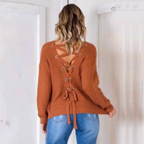 Autumn Fashion V Neck Solid Sweater Pullover Women Bandage Cross Ties Back Long Sleeve Knitted Sweater Female Extra Image 3