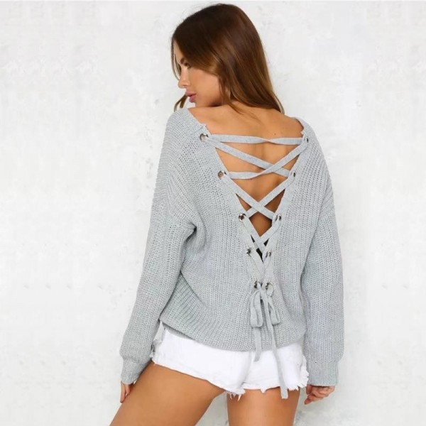 Autumn Fashion V Neck Solid Sweater Pullover Women Bandage Cross Ties Back Long Sleeve Knitted Sweater Female Extra Image 4