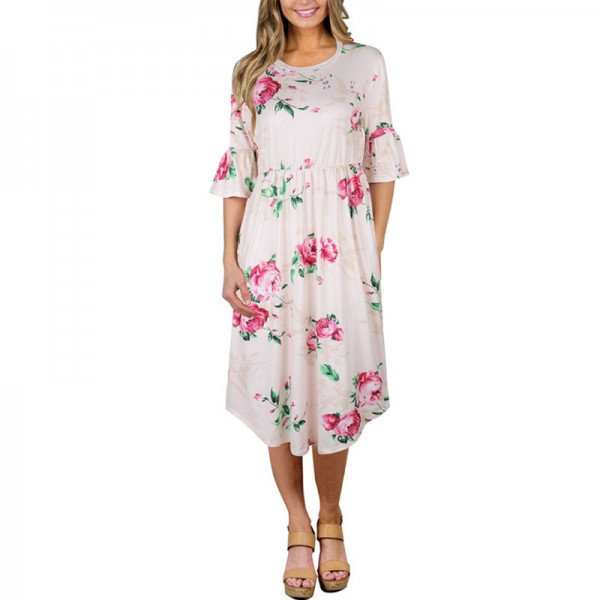 Autumn Half Flare Sleeve Floral Printed Dress Women Boho Bohemian Beach Casual Knee Length Ball Gown Ladies Dresses