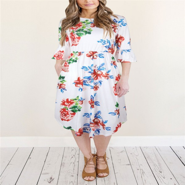Autumn Half Flare Sleeve Floral Printed Dress Women Boho Bohemian Beach Casual Knee Length Ball Gown Ladies Dresses Extra Image 2
