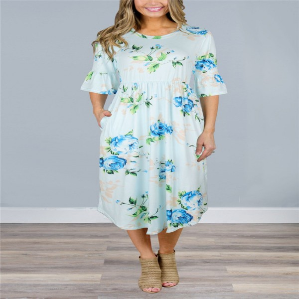 Autumn Half Flare Sleeve Floral Printed Dress Women Boho Bohemian Beach Casual Knee Length Ball Gown Ladies Dresses Extra Image 3