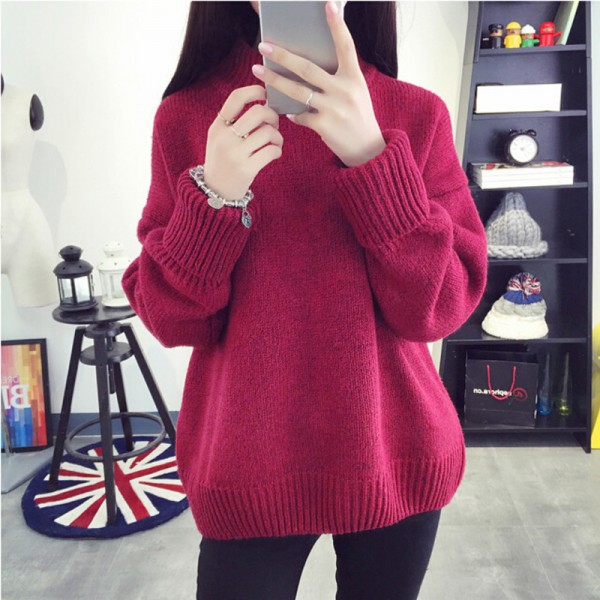 Autumn Knitwear Turtleneck Oversized Pullover Sweater Women Loose Thick Poncho Knitted Sweaters Female Casual Outwear Extra Image 3