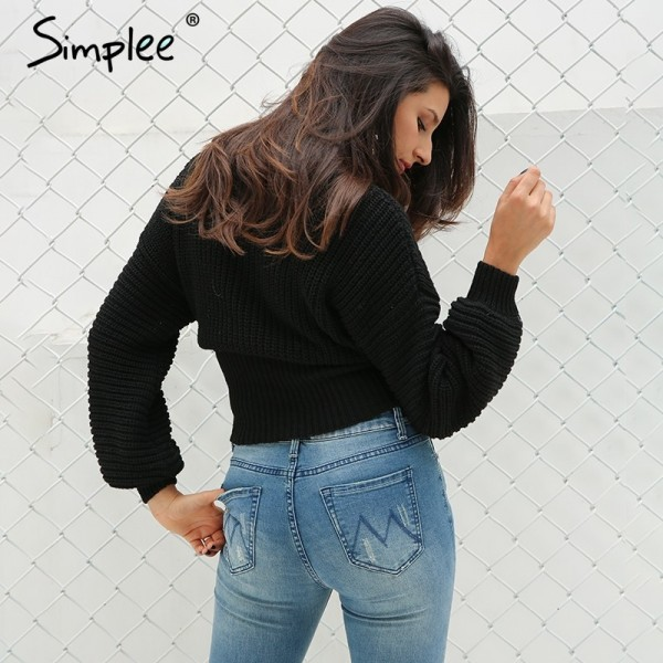 Autumn Lace up warm knitted pullover sweater Women black waistband long sleeve jumper Autumn winter knitting pull femme Extra Image 4