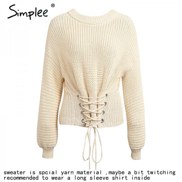 Autumn Lace up warm knitted pullover sweater Women black waistband long sleeve jumper Autumn winter knitting pull femme Extra Image 5
