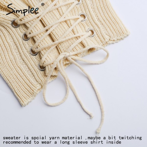 Autumn Lace up warm knitted pullover sweater Women black waistband long sleeve jumper Autumn winter knitting pull femme Extra Image 6