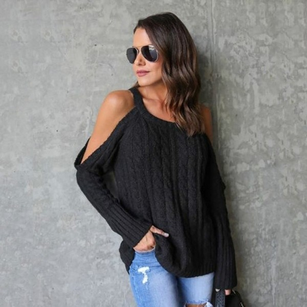 Autumn Long Sleeve Knitted Sweater Women Fashion Off Shoulder Pullovers Female Loose Sweater Knitted Warm Top Extra Image 2