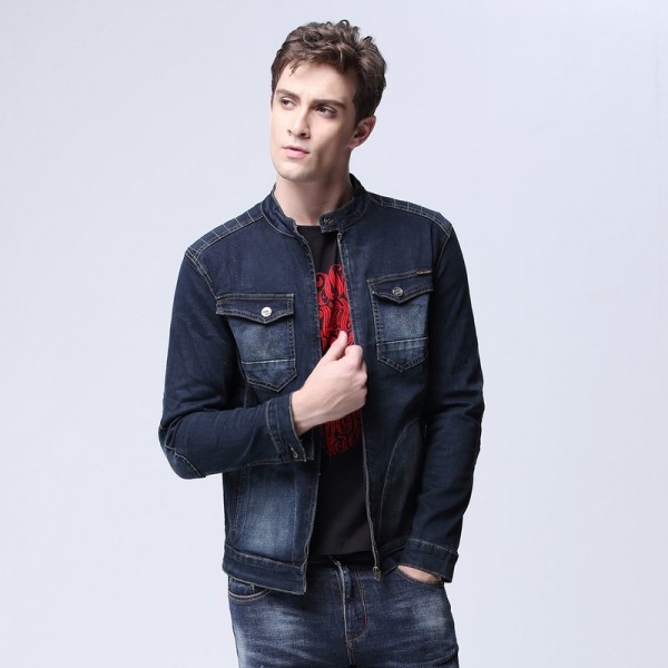 Autumn Mens Classic Trucker Jacket with Zipper Placket Dual Flap Chest Pockets Stand collar Denim Coat Extra Image 4