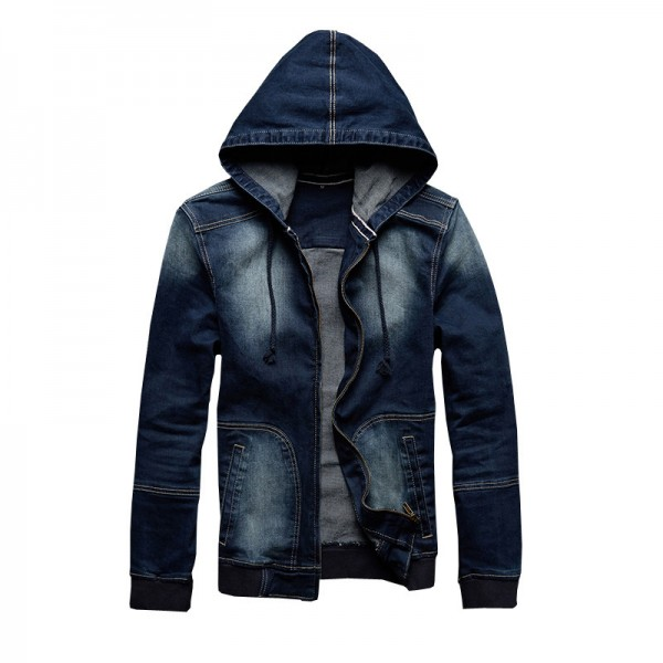 Autumn New Arrival Mens Hat Denim Jacket Rib Cuff Wear Casual Hoodies Jeans Jacket Size Jeans Male Outwear Extra Image 4