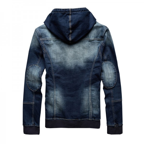 Autumn New Arrival Mens Hat Denim Jacket Rib Cuff Wear Casual Hoodies Jeans Jacket Size Jeans Male Outwear Extra Image 5