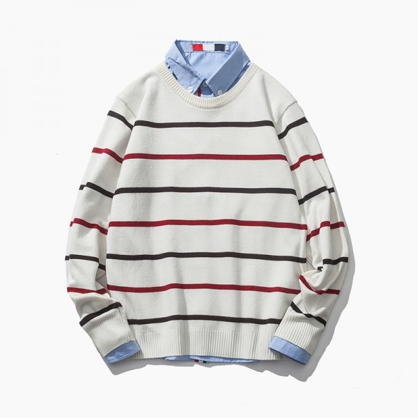 Autumn New Arrival Mens Sweater Fashion O Neck Stripe Color Block Decoration Sweater Men Casual Knitted Mens Pullovers Extra Image 2