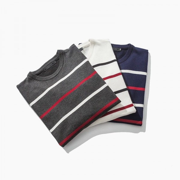 Autumn New Arrival Mens Sweater Fashion O Neck Stripe Color Block Decoration Sweater Men Casual Knitted Mens Pullovers Extra Image 3