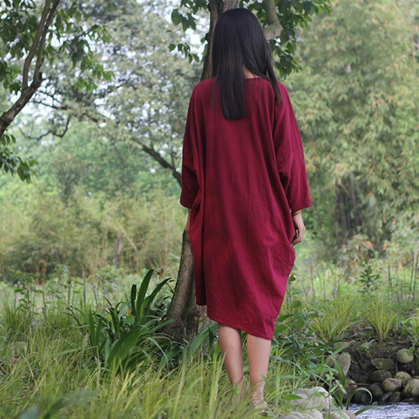 Autumn New Womens Dress Original Bat Sleeve Cotton Linen Dress Loose O Neck Casual Vintage Red White Dresses Extra Image 2