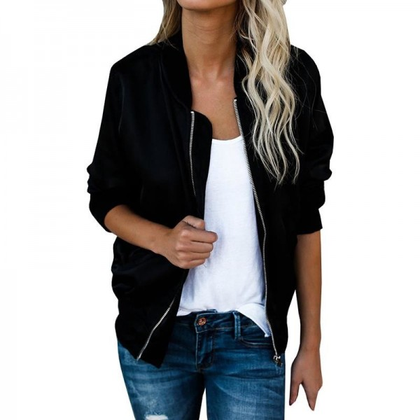 Autumn Plus Size Women Jacket  New Season Women Basic Jacket Long Sleeve Pockets Short Zips Cardigan Coat Extra Image 2