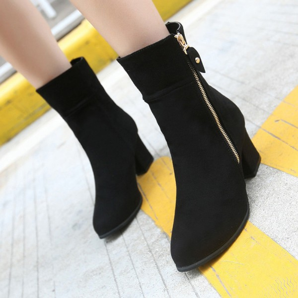 Autumn Solid Mature Black Ankle Boots Women Zip Closure Pointed Toe High Heels Shoes Woman Large Size Extra Image 3