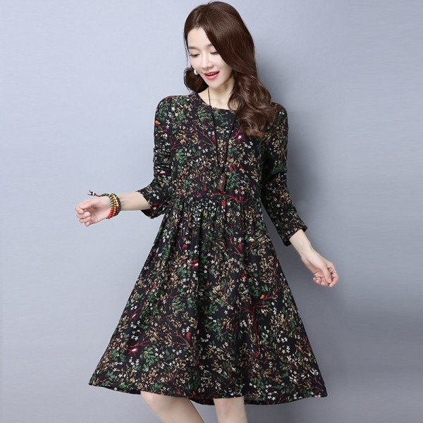 Autumn Spring Vintage Print Casual Loose Party Outdoor Cotton Linen New Fashion Dress Tops For Women Extra Image 2
