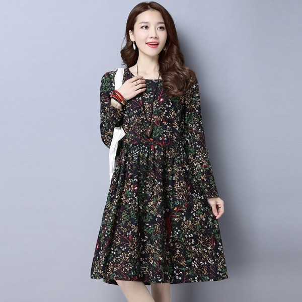 Autumn Spring Vintage Print Casual Loose Party Outdoor Cotton Linen New Fashion Dress Tops For Women Extra Image 4