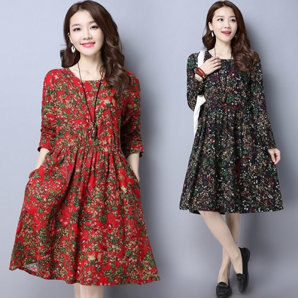 Autumn Spring Vintage Print Casual Loose Party Outdoor Cotton Linen New Fashion Dress Tops For Women