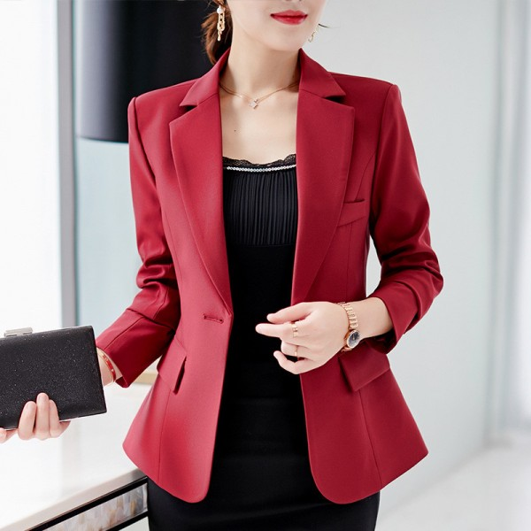 Autumn Suits New Womens Clothes Formal Office Work Blazer One Button Long Sleeve Top Slim Suit Casual Jacket Extra Image 1