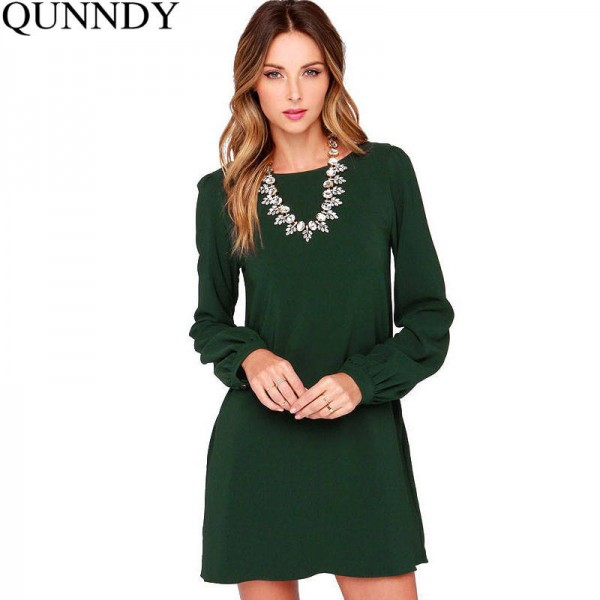 Autumn Summer Dress Elegant Casual Party Office Long Sleeve Loose Mini Dress Women Thumbnail