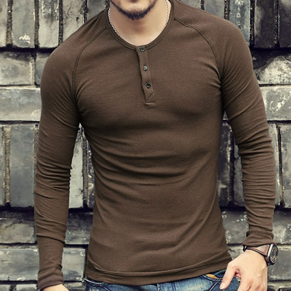 Autumn t shirt Brand Slim Fit Solid Color Men Warm Bottoming Long Sleeve Cotton Pullover Camisa Masculina Extra Image 1