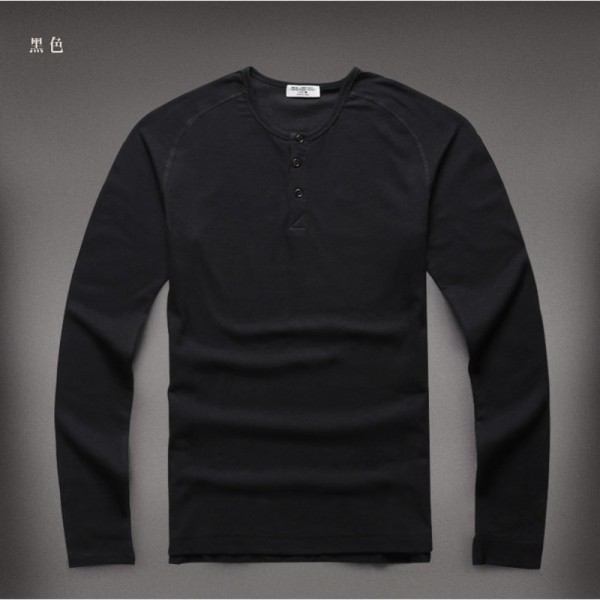 Autumn t shirt Brand Slim Fit Solid Color Men Warm Bottoming Long Sleeve Cotton Pullover Camisa Masculina Extra Image 4