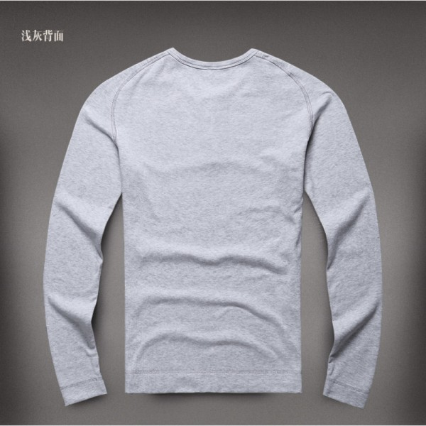 Autumn t shirt Brand Slim Fit Solid Color Men Warm Bottoming Long Sleeve Cotton Pullover Camisa Masculina Extra Image 5