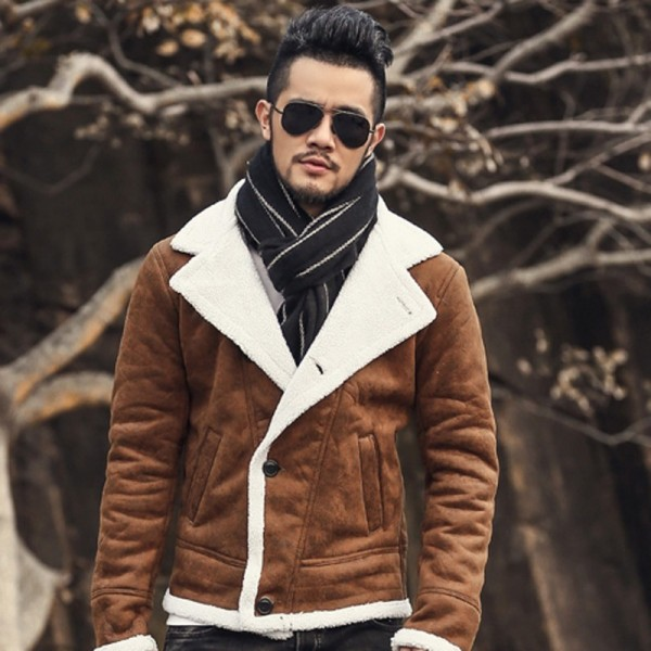 Autumn vintage old leather jacket men wool lining men warm fur collar jacket Mens Faux leather short jacket fur coat Extra Image 5