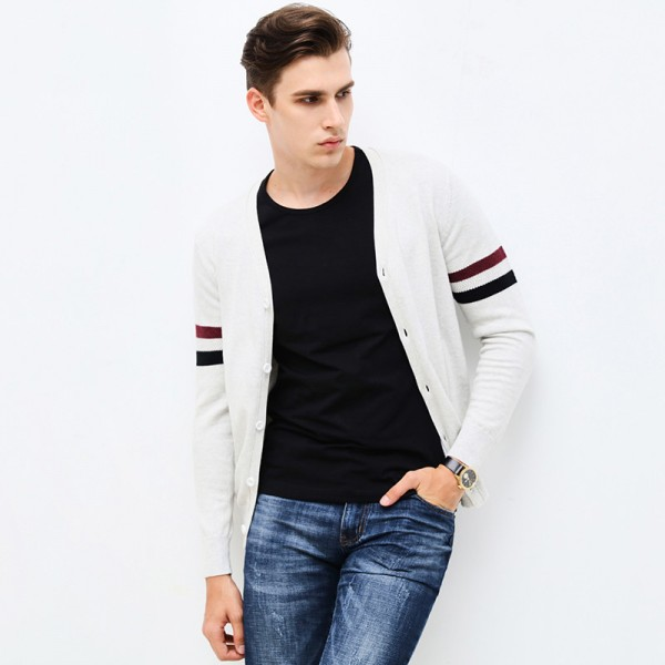 Autumn Winter Brand Clothing Sweater Men Fashion Striped Slim Fit Cardigan Men High Quality Knitted Sweater Men Extra Image 3
