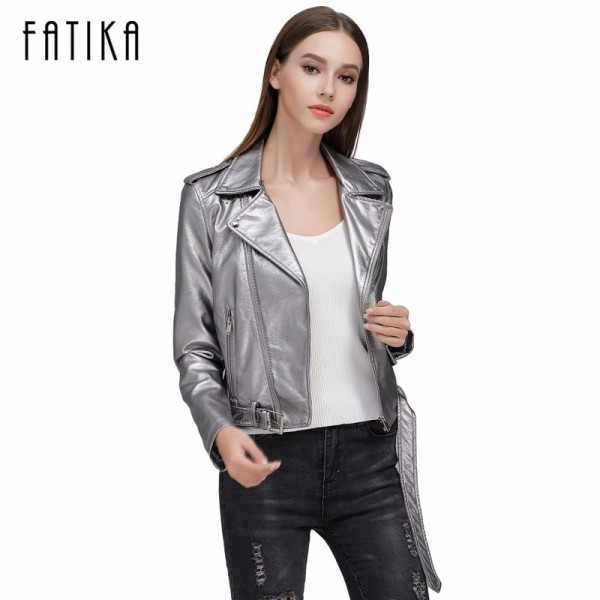 Autumn Winter Fashion 7 Colors Women Faux Leather Jacket and Coat Flying Motorcycle Bomber Jackets Outwear with Belt Extra Image 1