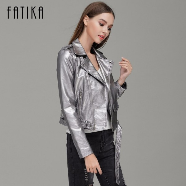 Autumn Winter Fashion 7 Colors Women Faux Leather Jacket and Coat Flying Motorcycle Bomber Jackets Outwear with Belt Extra Image 3