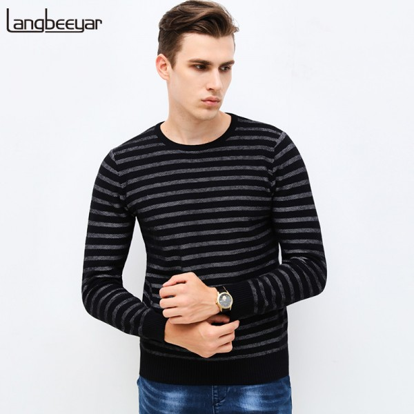 Autumn Winter Fashion Brand Clothing Men Sweaters Slim Fit Men Pullover O Neck Knitted Striped Sweater Men Extra Image 1