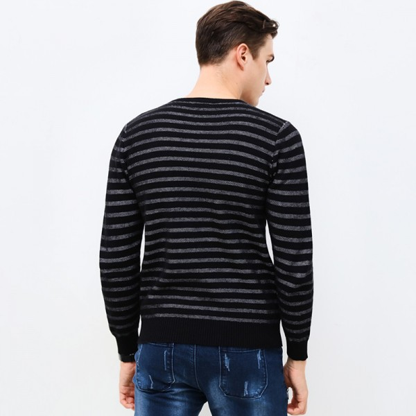 Autumn Winter Fashion Brand Clothing Men Sweaters Slim Fit Men Pullover O Neck Knitted Striped Sweater Men Extra Image 4