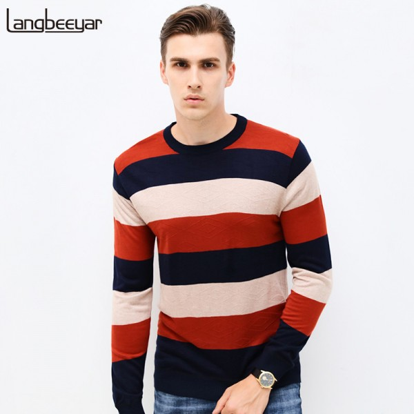 Autumn Winter Fashion Brand Clothing Mens Sweaters O Neck Slim Fit Men Pullover Thin Jacquard Knitted Sweater Men Extra Image 1