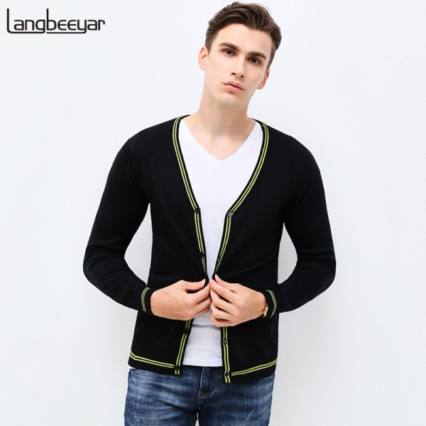 Autumn Winter Fashion Brand Clothing Mens Sweaters V Neck Slim Fit Mens Cardigan Contrast Color Knitted Sweater Men Extra Image 1