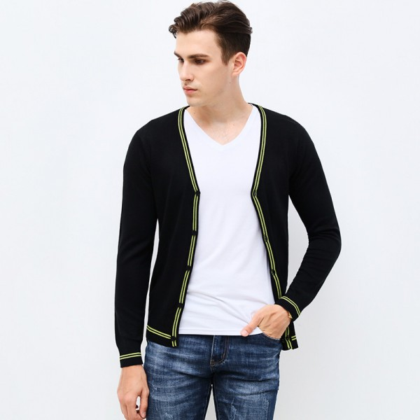 Autumn Winter Fashion Brand Clothing Mens Sweaters V Neck Slim Fit Mens Cardigan Contrast Color Knitted Sweater Men Extra Image 3