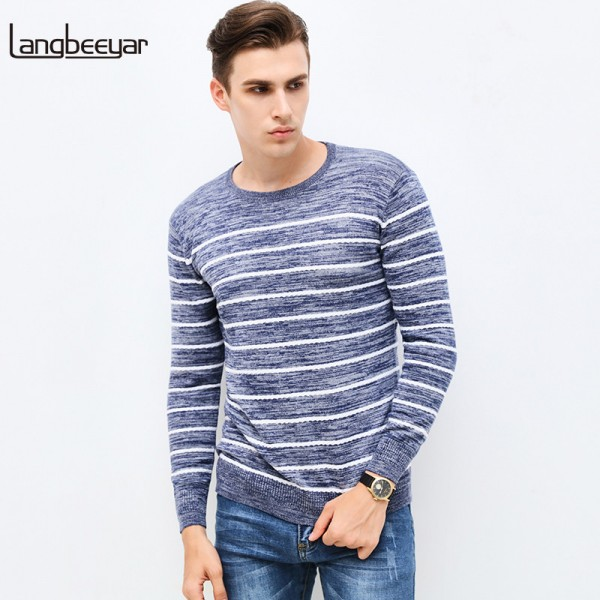 Autumn Winter Fashion Brand Clothing Pullover Striped Mens Sweater High Quality Slim Fit O Neck Sweaters For Men Extra Image 1