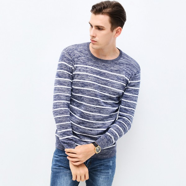 Autumn Winter Fashion Brand Clothing Pullover Striped Mens Sweater High Quality Slim Fit O Neck Sweaters For Men Extra Image 3