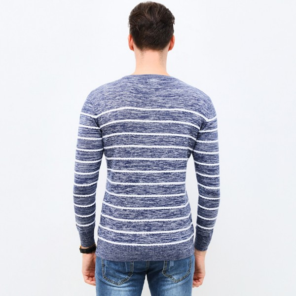 Autumn Winter Fashion Brand Clothing Pullover Striped Mens Sweater High Quality Slim Fit O Neck Sweaters For Men Extra Image 4