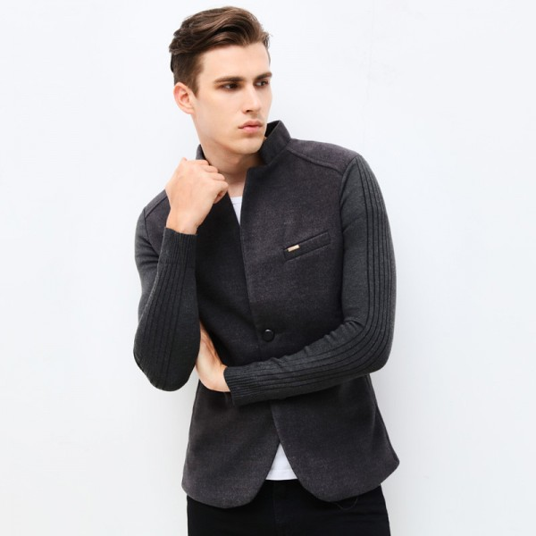 Autumn Winter Fashion Brand Unique Mens Blazer Jacket Woolen Casual Blazer Slim Fit Patchwork Sleeve Men Suit Jacket Extra Image 3
