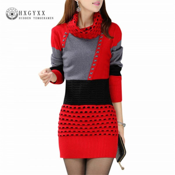 Autumn Winter Fashion Sweaters Dresses Turtle Neck Full Sleeve Cotton Sexy Patchwork Mini Pullovers Dresses For Women Extra Image 1