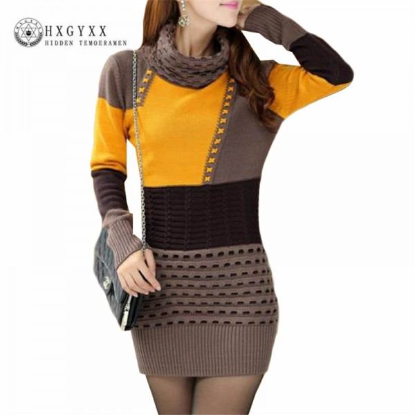 Autumn Winter Fashion Sweaters Dresses Turtle Neck Full Sleeve Cotton Sexy Patchwork Mini Pullovers Dresses For Women Extra Image 2