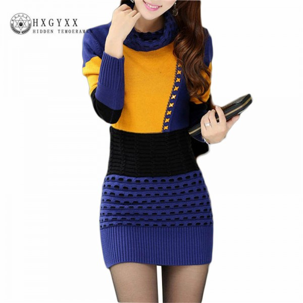 Autumn Winter Fashion Sweaters Dresses Turtle Neck Full Sleeve Cotton Sexy Patchwork Mini Pullovers Dresses For Women Extra Image 5