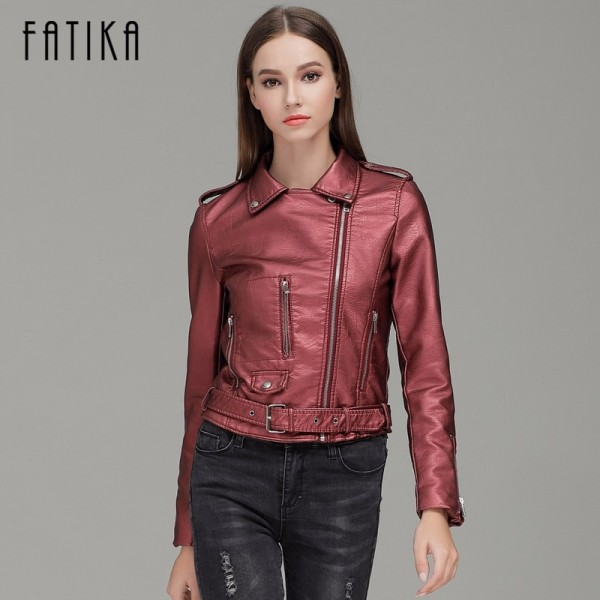 Autumn Winter Fashion Women Faux Leather Jackets and Coats Pockets Zipper Belted Motorcycle Jacket Outwear For Woman Extra Image 2