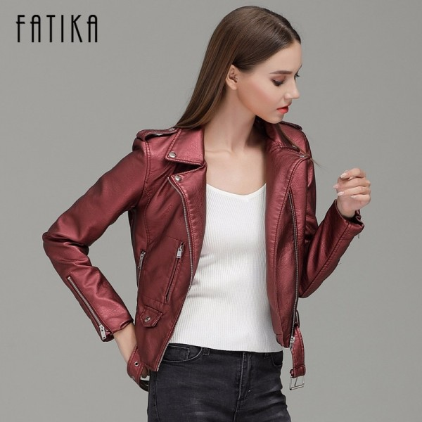 Autumn Winter Fashion Women Faux Leather Jackets and Coats Pockets Zipper Belted Motorcycle Jacket Outwear For Woman Extra Image 3