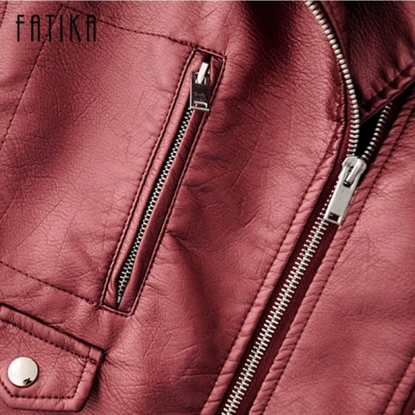 Autumn Winter Fashion Women Faux Leather Jackets and Coats Pockets Zipper Belted Motorcycle Jacket Outwear For Woman Extra Image 5