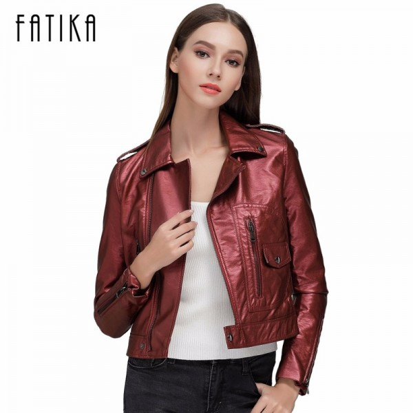 Autumn Winter Fashion Women Faux Leather Jackets and Coats Zipper Flying Motorcycle Jacket Outwear With Epaulet Extra Image 1